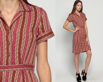 High Waisted Dress 70s Mini Shirtwaist Striped Mod Knit Button Up Secretary 1970s Sheath Pencil Short Sleeve Pink Brown Vintage Small