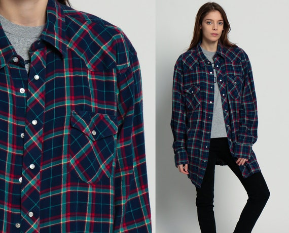 Pearl snap shirt western 80s plaid navy flannel shirt grunge for Navy blue and red flannel shirt