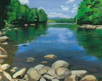 Pemigewasset River from Blair Bridge, NH, Framed Original Painting, Acrylic on Canvas 16x20