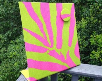 Fabric Magnet Board, Zebra Candy Pink, Planner, Freestanding Magnet Board, Desktop Accessory, Teen Gift Idea, Dorm Decor Idea