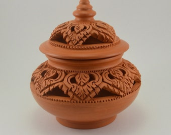 Red Earthenware/Pottery with Traditional Thai Craving Pattern