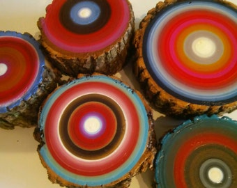 Tree Rings 5 Mixed Sizes Beautiful Dimensional Wall Art Eco Friendly Heather Montgomery Art Ready to ship