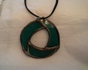 Stained Glass Green Circle Pendant