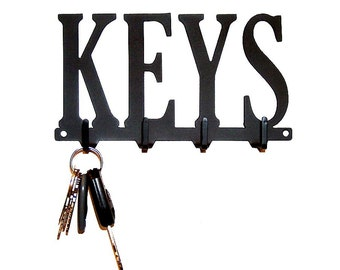 Keys Text Metal Art Key Rack - Free USA Shipping
