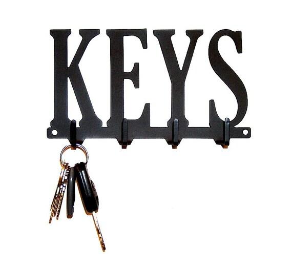 Keys Text Metal Art Key Rack - Free USA Shipping