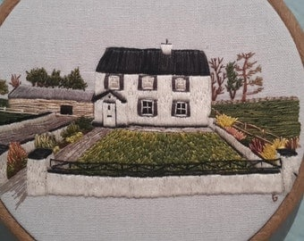 Custom Made to Order Hand Embroidered Home Portrait - 6 Inch Hoop