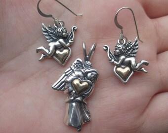 Sterling Silver Angel Earrings or Pendant