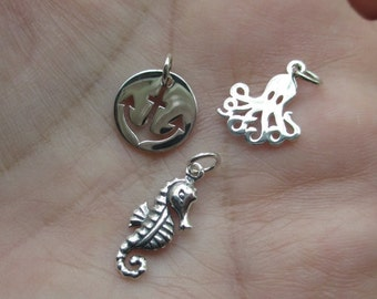 Sterling Silver Octopus, Seahorse or Anchor Charms(you choose which one)