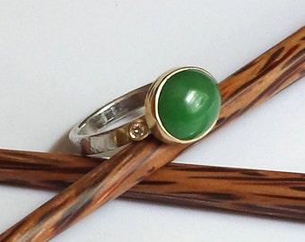 Handmade Custom Jade and Diamond Ring