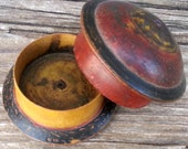 Vintage Hand Painted Muted Red & Black Wooden Spice Box from Afghanistan Petite Mini