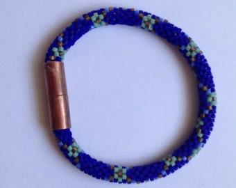 cobalt blue and copper bracelet