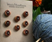 8 Ladybug Red Cedar Buttons- Reclaimed Western Red Cedar Wood- Handmade Wooden Buttons- Eco Craft Supplies- Knitting Supplies