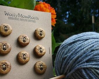 8 Yellow Honeybee Buttons- Handmade Wooden Buttons- Wood- Knitting, Sewing, Craft Buttons- Eco Knitting Supplies