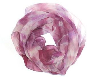 Large Square Scarf- Rose Pink Abstract Organic Shibori Hand Dyed Silk Chiffon Women's Scarf