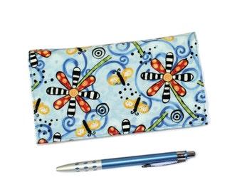 READY TO SHIP - Blue Checkbook Cover for Duplicate Checks with Pen Holder - Polka Dot Garden Cotton Fabric