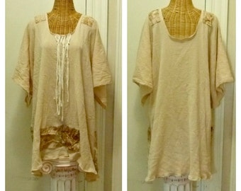 Champagne Seashell Sundress Tunic Top XL, 1X, Cotton Gauze Boho Batik Print