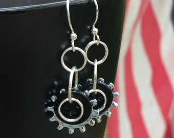 Washer earrings, lock washer earrings, star washer earrings, button earrings, black button earrings, industrial earrings, hardware earrings