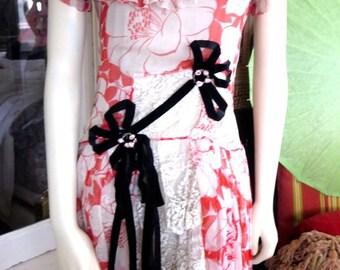 1920s Amazing Orange Silk Chiffon Art Deco Poppy Pattern Beaded Flapper Dress Lace Panels Rosettes Trim 30-32 Bust