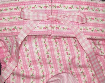 Dog Diapers Britches or Panties Pastel Pink Stripes with PinkRosebuds and Gingham Ribbon