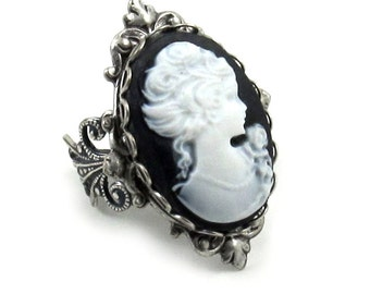 SALE 50% OFF Gothic Lolita Cameo Ring in Classic White on Black with Sterling SIlver Plated Filigree Ring Band - By Ghostlove
