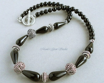 Black Onyx Gemstone Beaded Necklace 18 inches, Handmade Onyx Jewelry