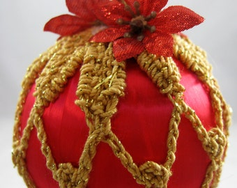 Crochet Covered Red Satin Christmas Ornament 132