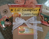 Lil' Sampler Inspiration Kit COUNTRY SAMPLER Fabric Lace Buttons Trim Ribbons Bows & More French Country