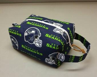 Seattle Seahawks handmade toiletry kit, shave kit, makeup bag, dopp kit