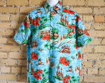 Vintage 1970s Mens Size Large XL Van Cort Hawaiian Shirt / Hula Girl Tiki Hibiscus Novelty Pattern, Polyester, Button Front / chest 46