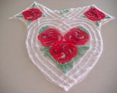 Tonals Red Floral Plush Heart Vintage Cotton Chenille Bedspread Fabric