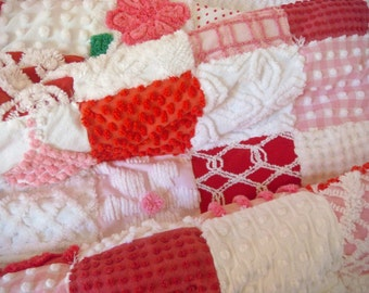 EOWYN'S ROSES - A Handmade Vintage Chenille Patchwork Quilt Ready to Purchase