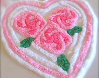 Pink Tonal Floral Heart Vintage Cotton Chenille Bedspread Fabric 13 x 13 Inches
