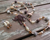 Long Tan Waxed Thread Necklace with Carved Wooden Elephant, Glass, Crystals, Goldstone, Wood and Bone Button