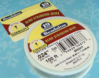 """Beadalon Bead Stringing Wire Spool BRIGHT .024"""" 100 ft 19 Strand Jewelry Supplies Nylon Coated Stainless Steel Beading Wire String"""