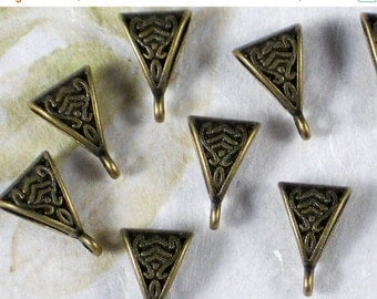 SALE 10 Bronze Bails Celtic Pendant Hanger with Loop Slider Triangle Shape (P1335)