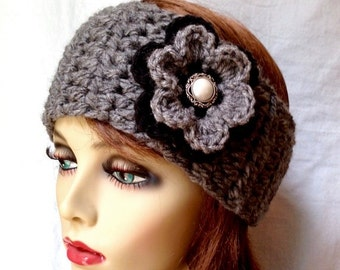 Crochet Headband Charcoal Grey, Ear Warmer, Ski Headband, Pick Color, Chunky, Gifts for her, Birthday Gifts, Handmade - HBJE407