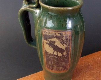 Stoneware Travel Mug  ~ Moose Design ~ No Cork~