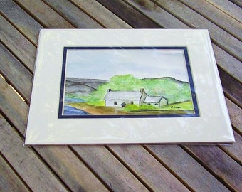 Original Watercolor Painting , Country Cottage , Matted Watercolor Painting