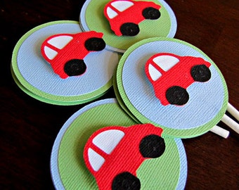 Little Red Car Party Cupcake Toppers, Little Red Car Birthday Party, Red Car Cupcake Toppers, 1st Birthday, Red Car Baby Shower, Set of 12