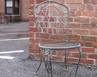 Stunning Vintage Pair of Iron MEADOW CRAFT Cafe Chairs w/ Floral Motif