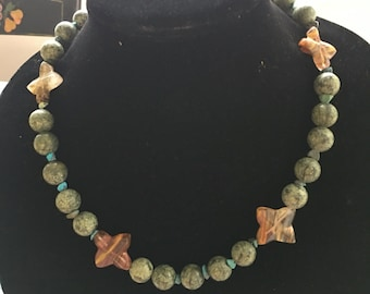 Vintage Jade and Turquoise Bead Necklace