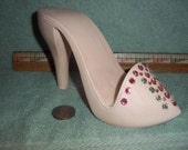 New Stilleto Pink High Heel Shoe Cell Phone or Business Card Holder made of Ceramic Shoes