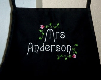 Mrs Apron Personalized Embroidered Barbecue  Apron