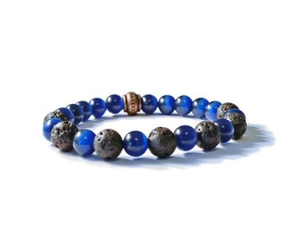 Aromatherapy Essential Oils Diffuser Stretch Bracelet, Midnight Blue Cat's Eye with Natural Lava Stones