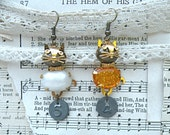cat earrings mismatch assemblage upcycled nine lives industrial number tag animal jewelry cottage chic