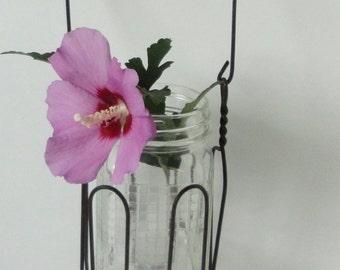 Wire Jar Holder with  Jar. Farmhouse Decor