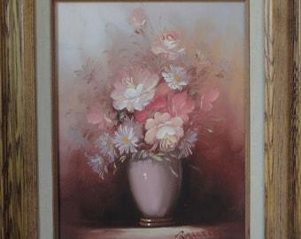 ROBERT COX Original Pink Floral Oil Painting.