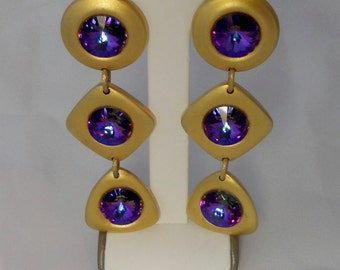 Gold Tone with Purple Ravioli Rhinestones Statement Earrings. Over 3 inches long.