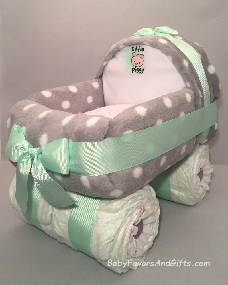 Baby Carriage Diaper Cake In Many Colors Gift Or Centerpiece