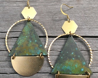 Turquoise triangle and brass hoop earrings